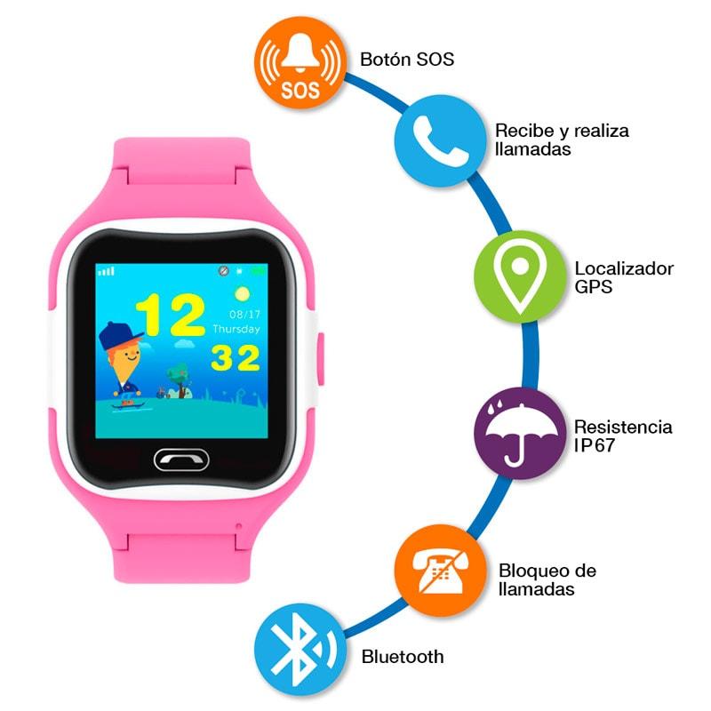 Smartwatch GPS para Niños, Bluetooth, Ranura para Chip SIM, Resistente al Agua, Botón SOS, Llamadas