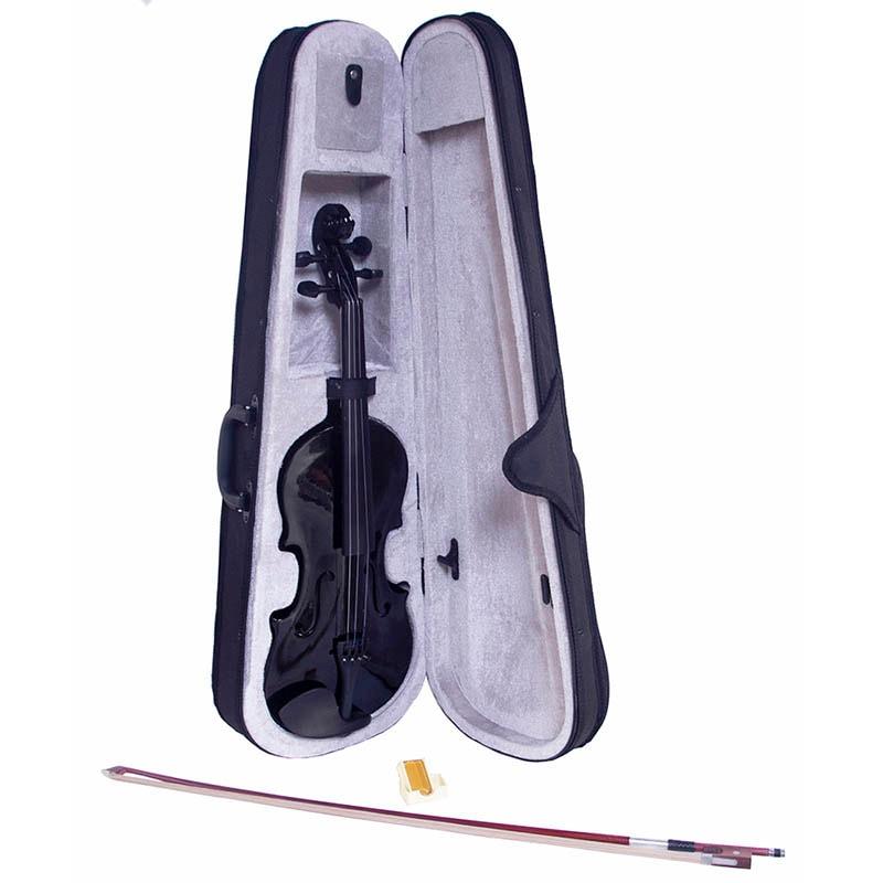 Violín Acustico 4/4 Profesional Madera Fina Negro Estudiante Musica
