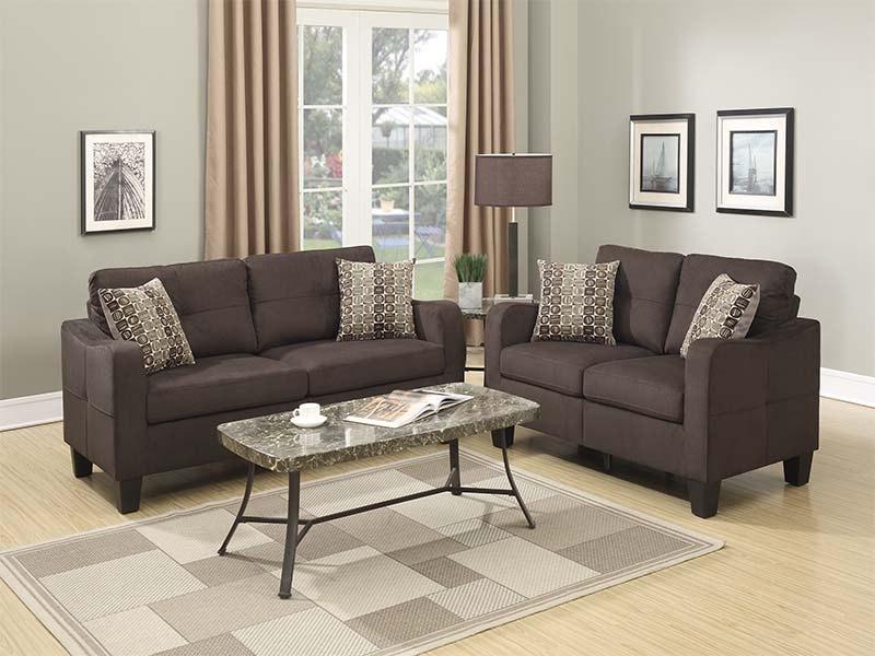 Sala de 2 piezas sofá y loveseat color chocolate F6923 - POUNDEX