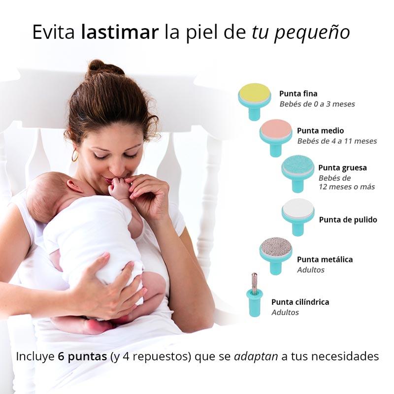 Redlemon Lima de Uñas Eléctrica para Bebés, Niños y Adultos con 6 Cabezales y 4 de Repuesto, 2 Velocidades