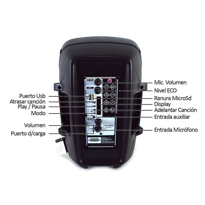 Bafles Bocina Amplificados Bluetooth 8 P Portatil St-80l Negro