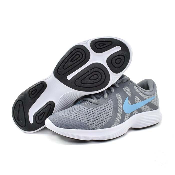 Tenis Nike Revolution 4 Gs Gris/Azul - 943309 014