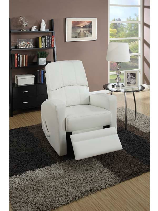 Sillon Reclinable color blanco, de palanca F1534 – POUNDEX