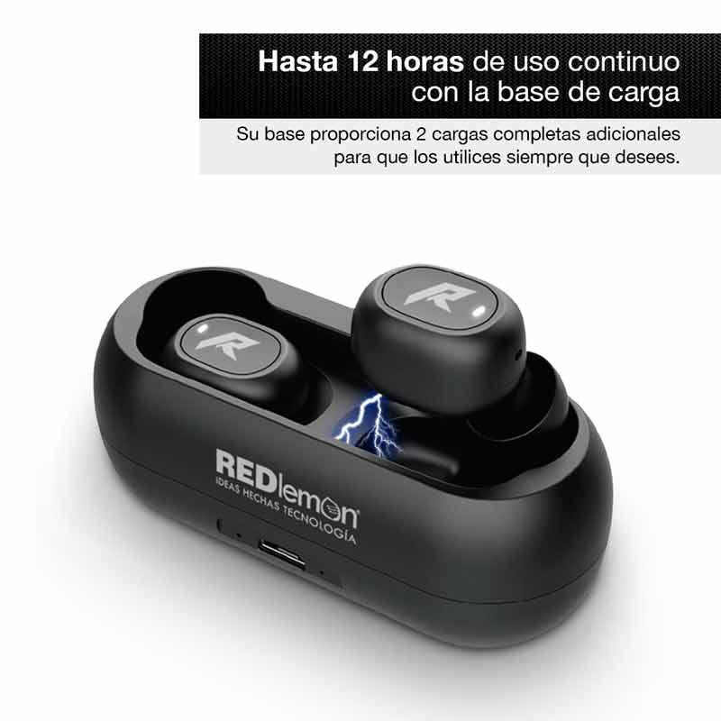 Redlemon Audífonos Bluetooth TWS HD Inalámbricos Base Carga