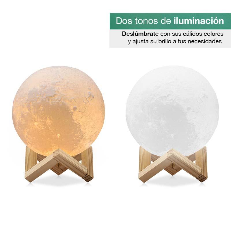 Redlemon Lámpara de Luna en Impresión 3D Réplica Exacta Recargable 18cm