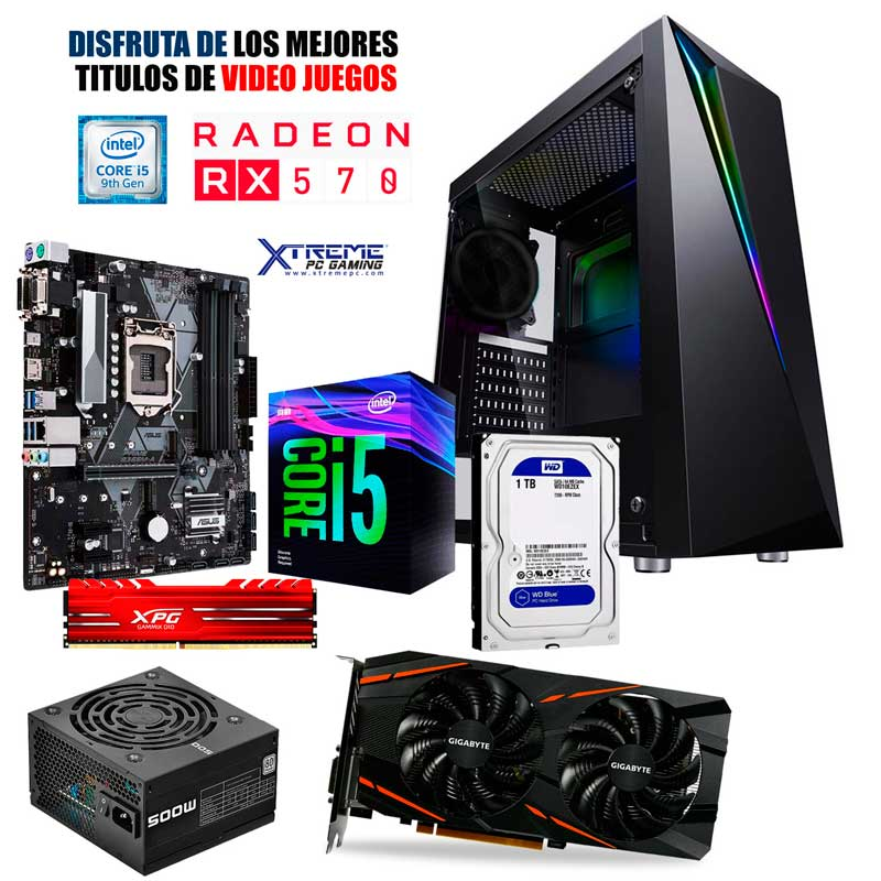 Pc Gamer Xtreme Intel I5 9400f 8gb 1tb Rx 570 8gb Monitor LED 24