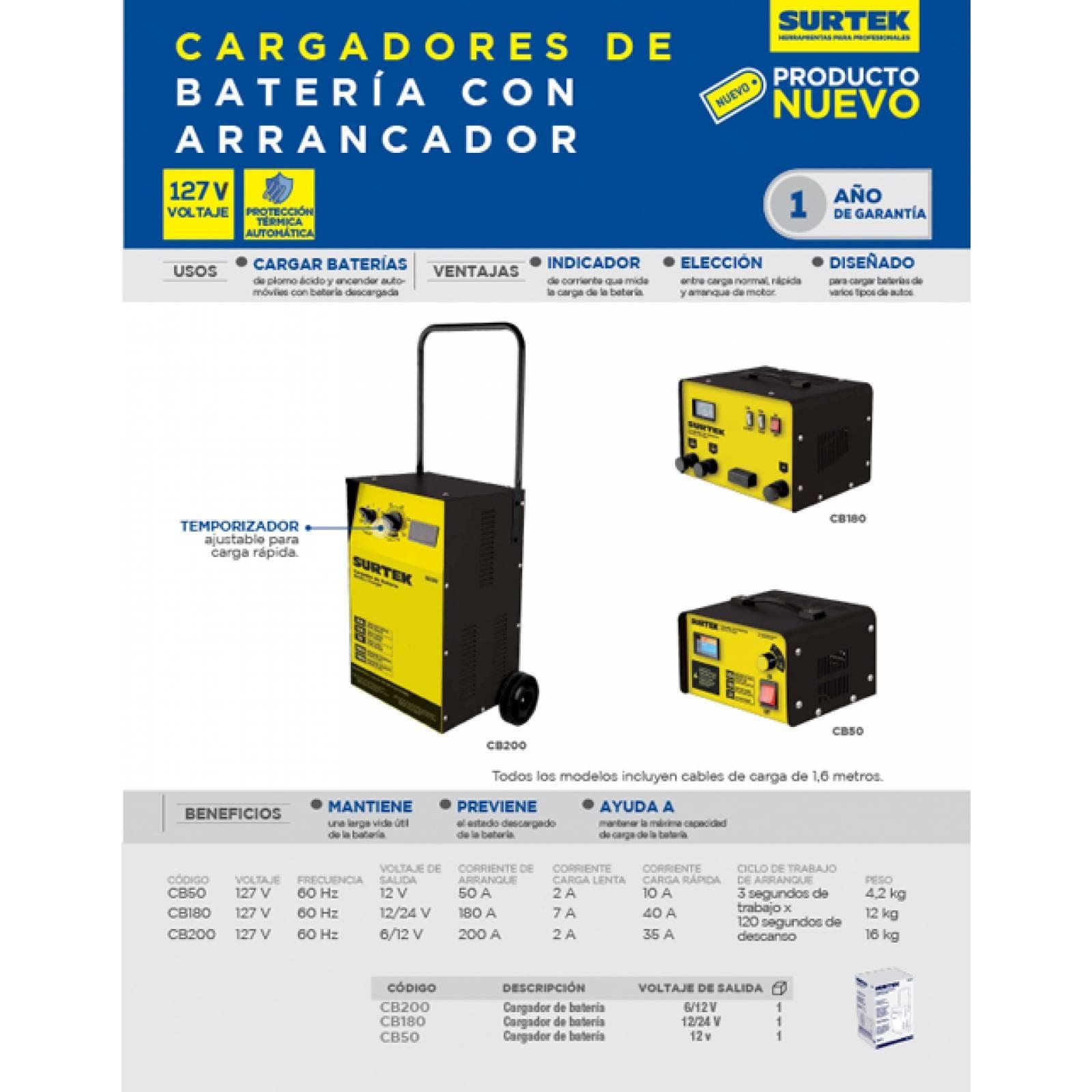 Cargador Batería Arrancador 180 A De 127V Frec 60 Hz Surtek