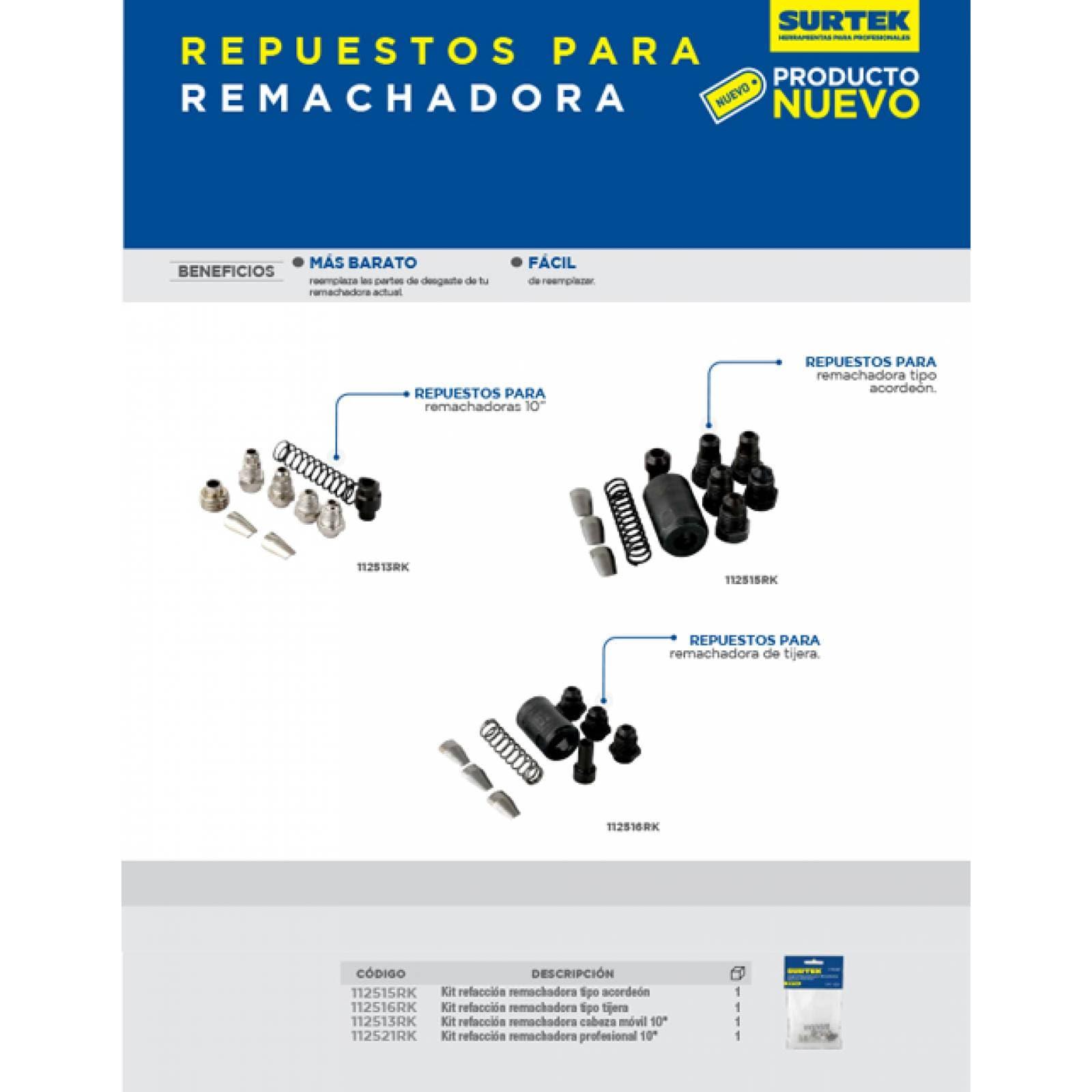 "Kit De Refacción Remachadora Profesional 10"" 112521RK Surtek"