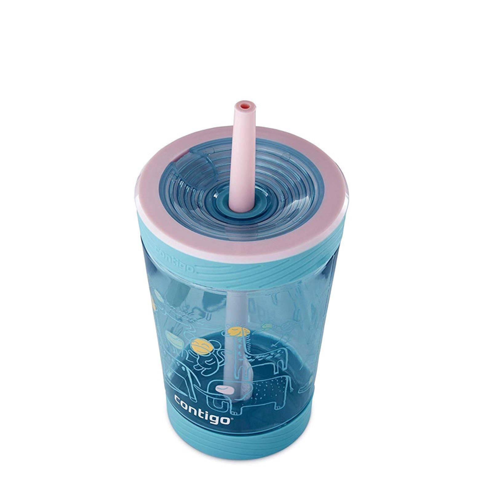 Vaso 14 Oz Antiderrames Niños Plastico + Popote Rosa Contigo