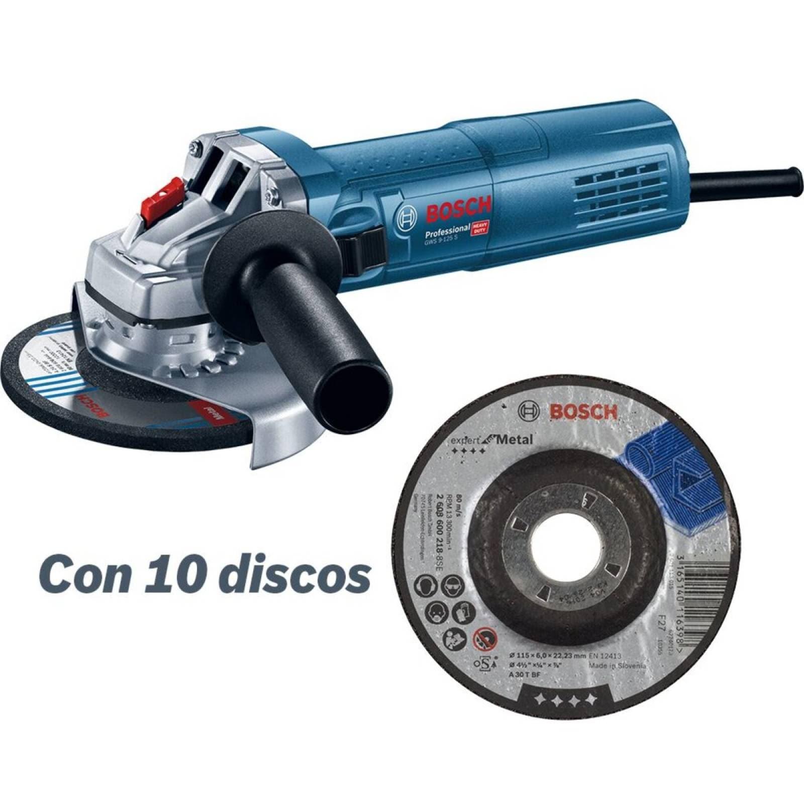 Combo MiniEsmeril GWS 9-125S+Set 10 Discos Abrasivos Expert