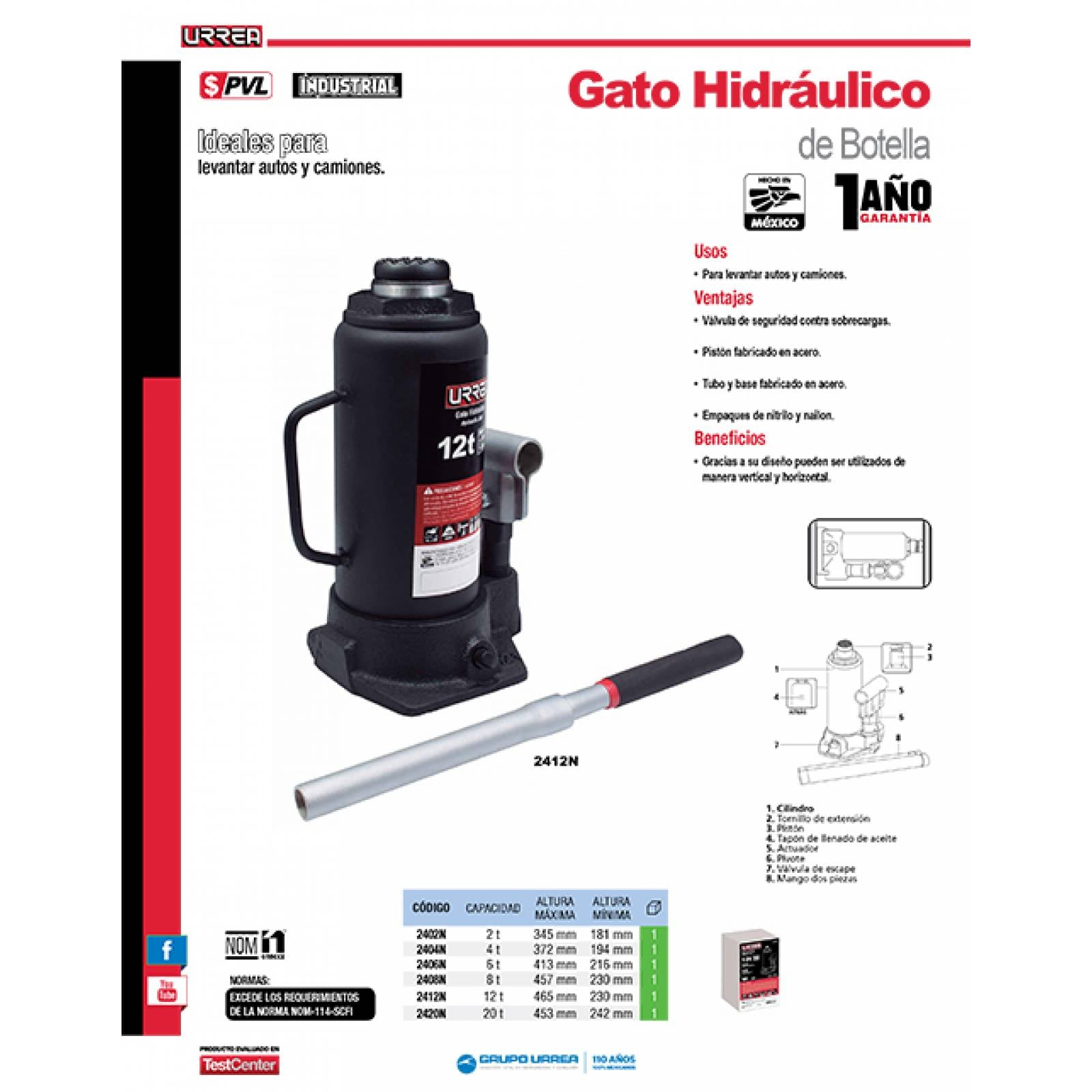 Gato De Botella, Uso Industrial De 12 Toneladas 2412N Urrea