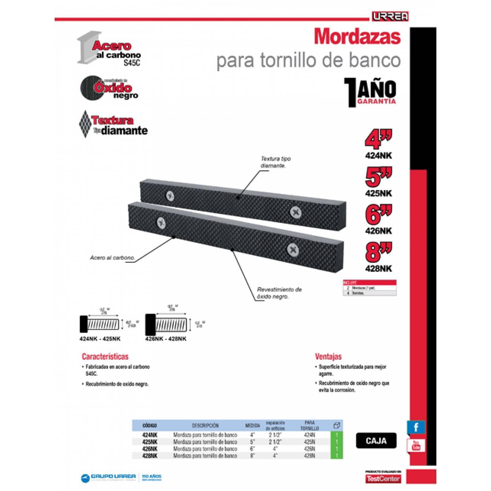 """Mordazas Tornillo De Banco 5"""" Para Tornillo 425NK Urrea"""