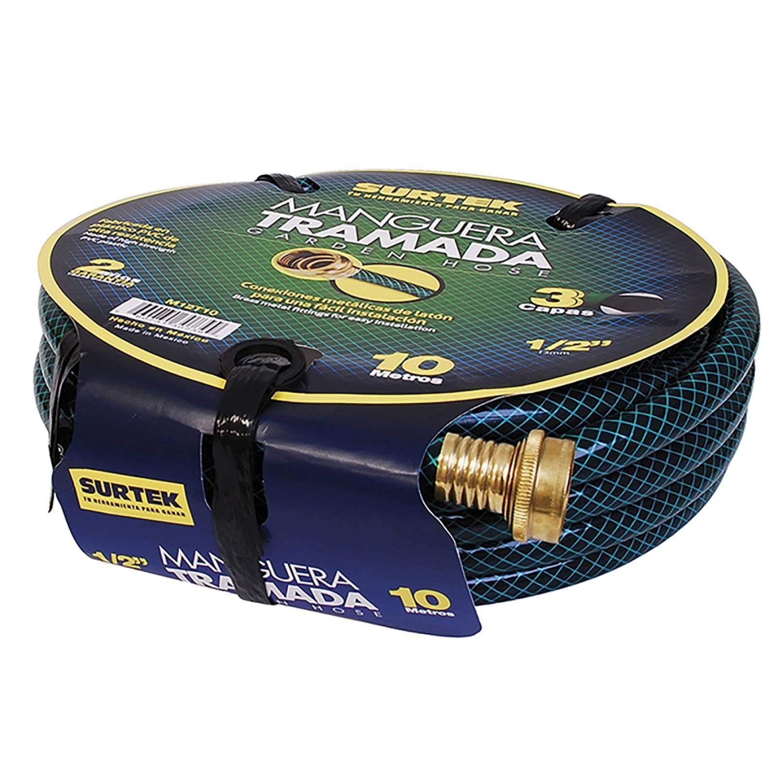 """Manguera tramada verde 1/2"""" armada conector metal 15m M12T15 Surtek"""