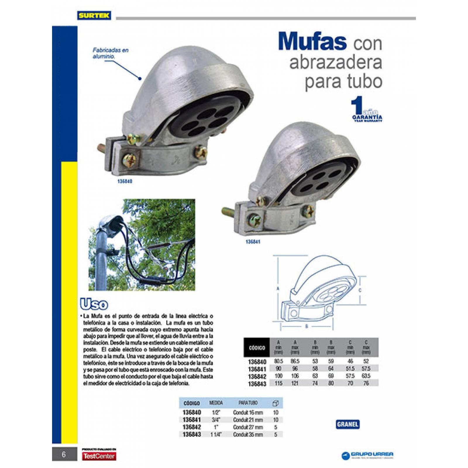 "Mufa Para Intemperie 3/4"" Con Abrazadera 136841 Surtek"