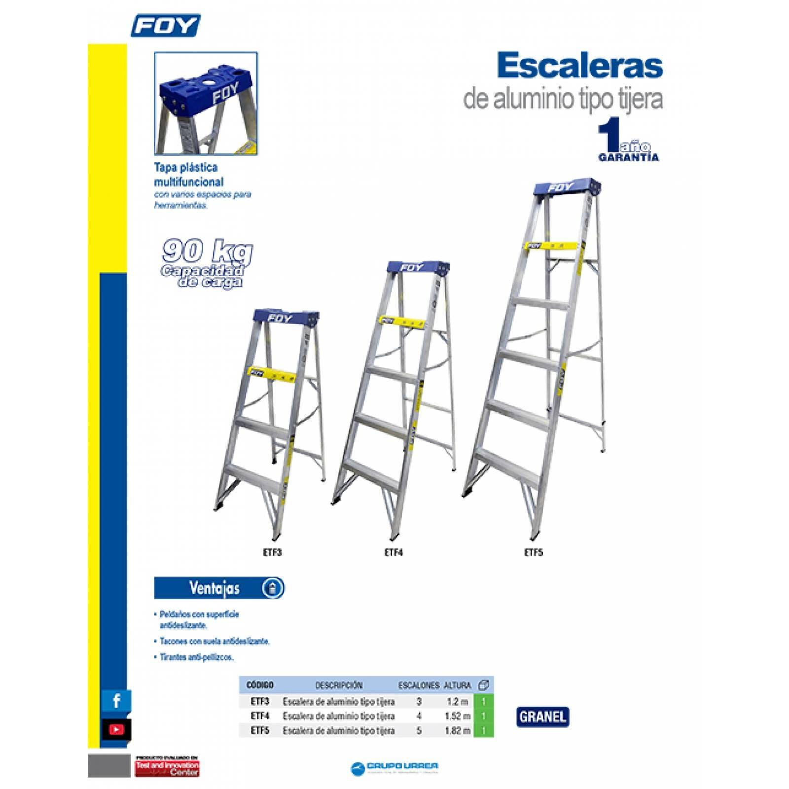 Escalera De Aluminio Tipo Tijera 5 Escalones ETF5 Surtek