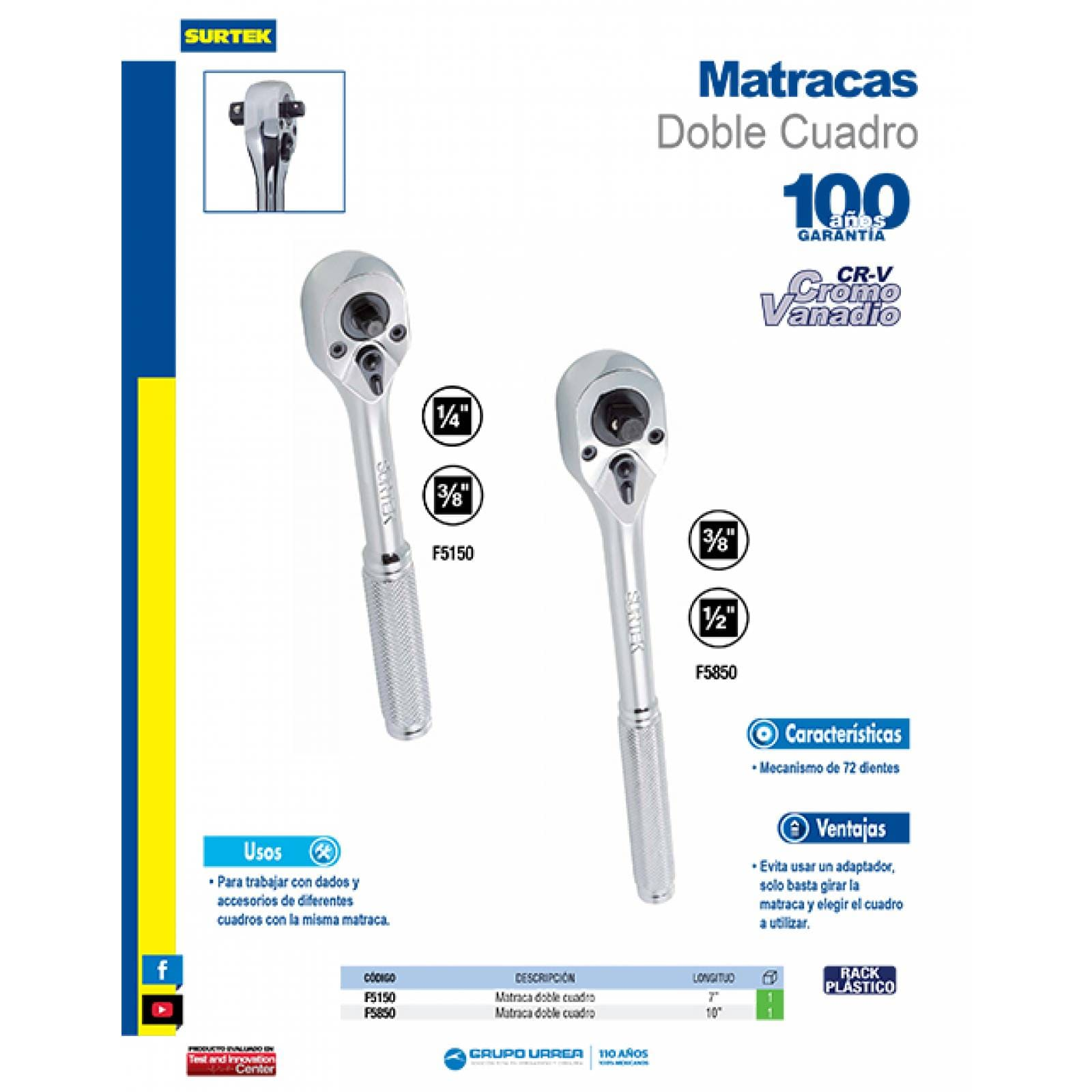 "Matraca Doble Cuadro 3/8"" -1/2"" Longitud 10"" F5850 Surtek"