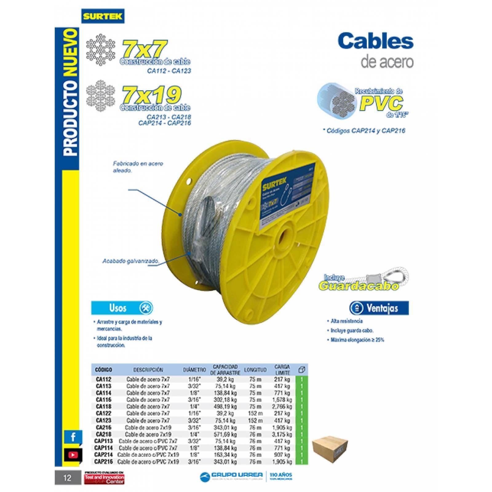 "Cable Acero 7X7 3/32""X152M CA123 Surtek"
