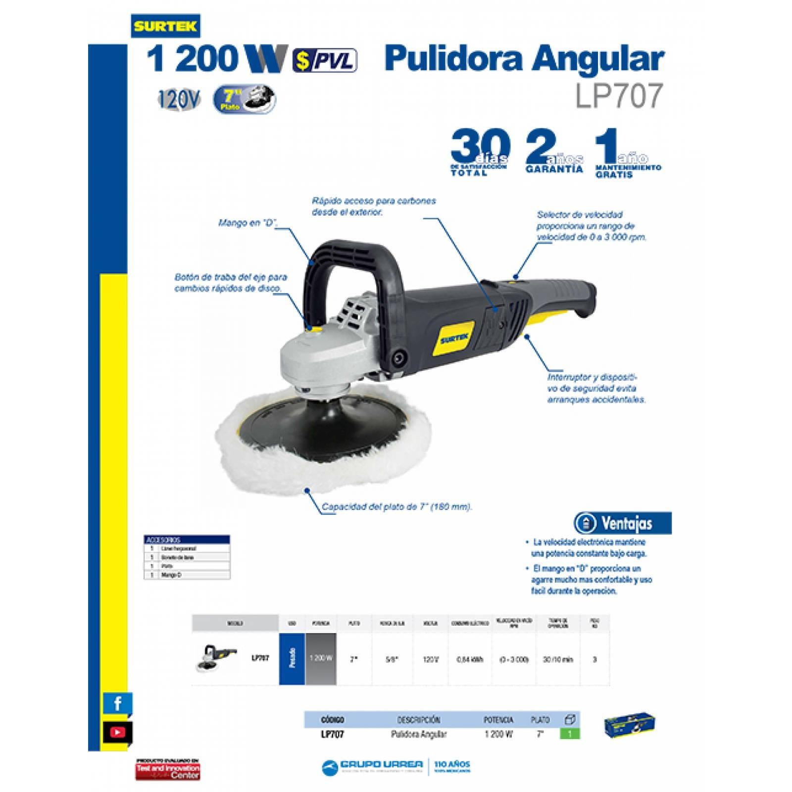 "Pulidora Angular 1200 Watts Plato 7"" 120V 0-3,000 Rpm LP707"
