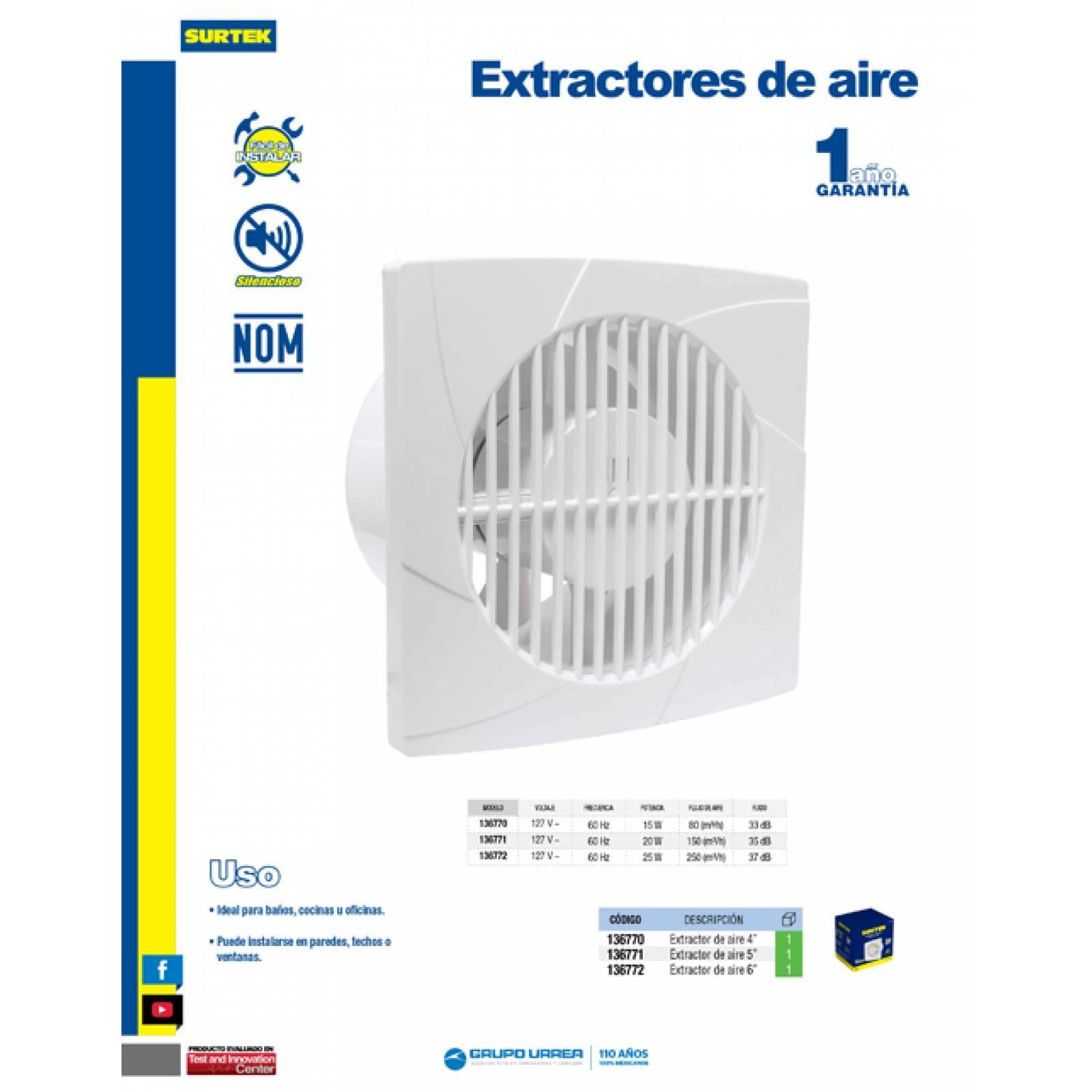 Extractores De Aire 4 Pulgadas 136770 Surtek