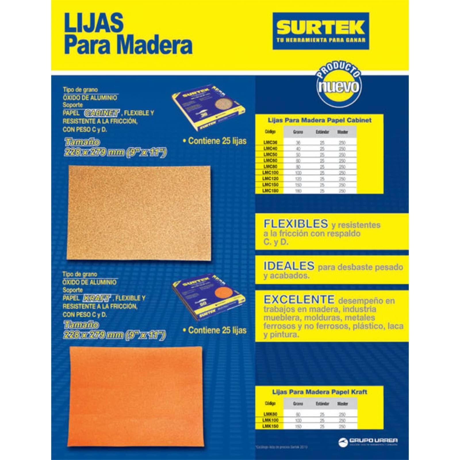 Lija Madera Cabinet Grano 80 LMC80 Surtek