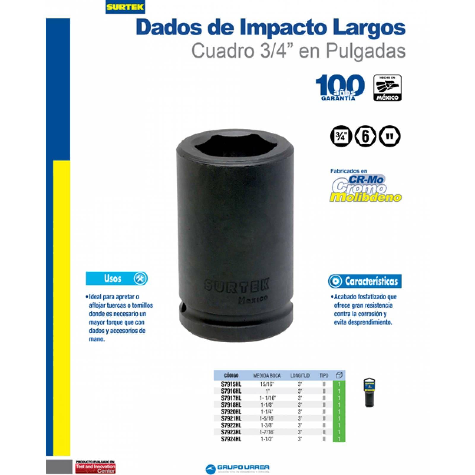 "Dado De Impacto 3/4"" Largo 6 Puntos 1-5/16 S7921HL Surtek"