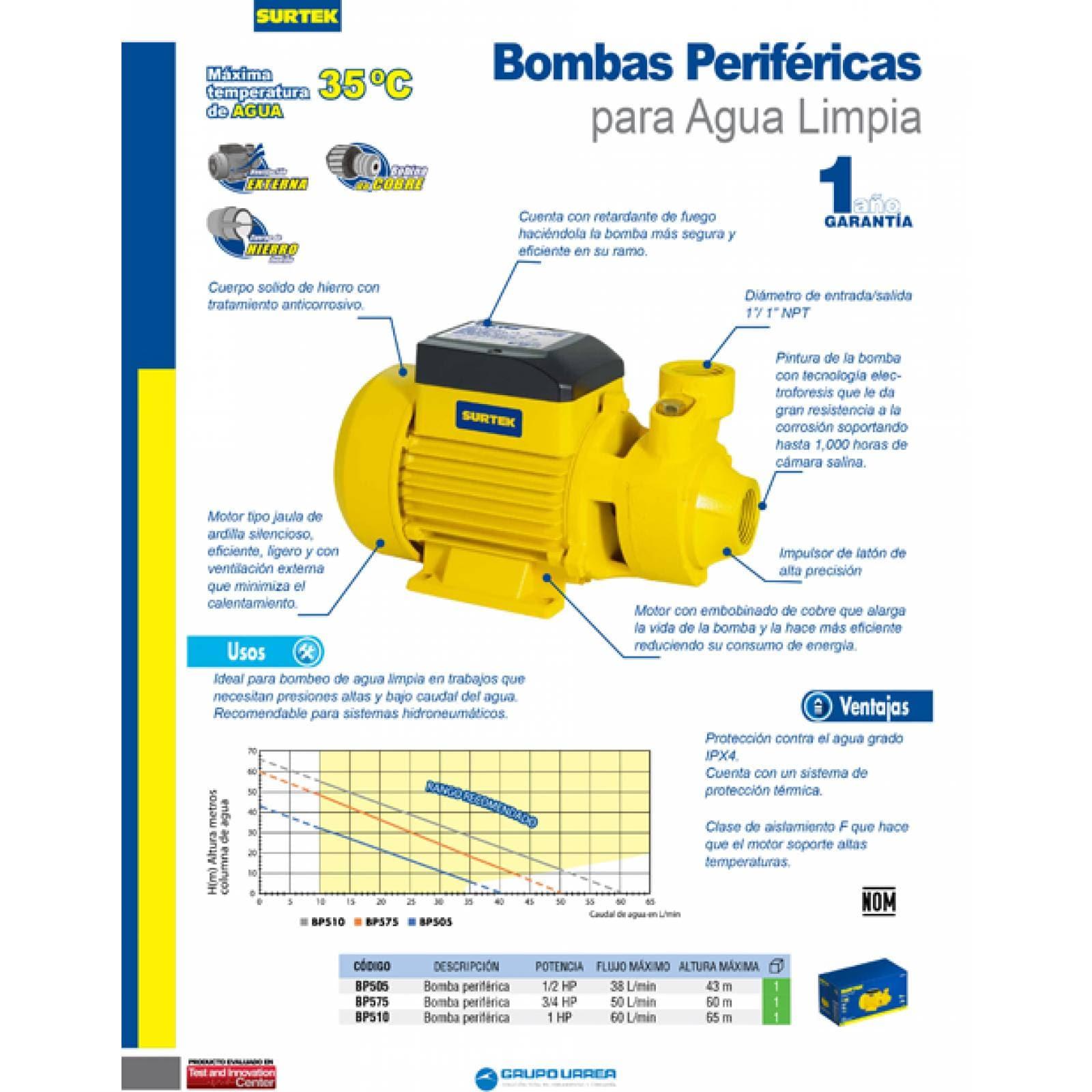 Bomba Periférica De 1/2 Hp Altura Máxima 43 M BP505 Surtek