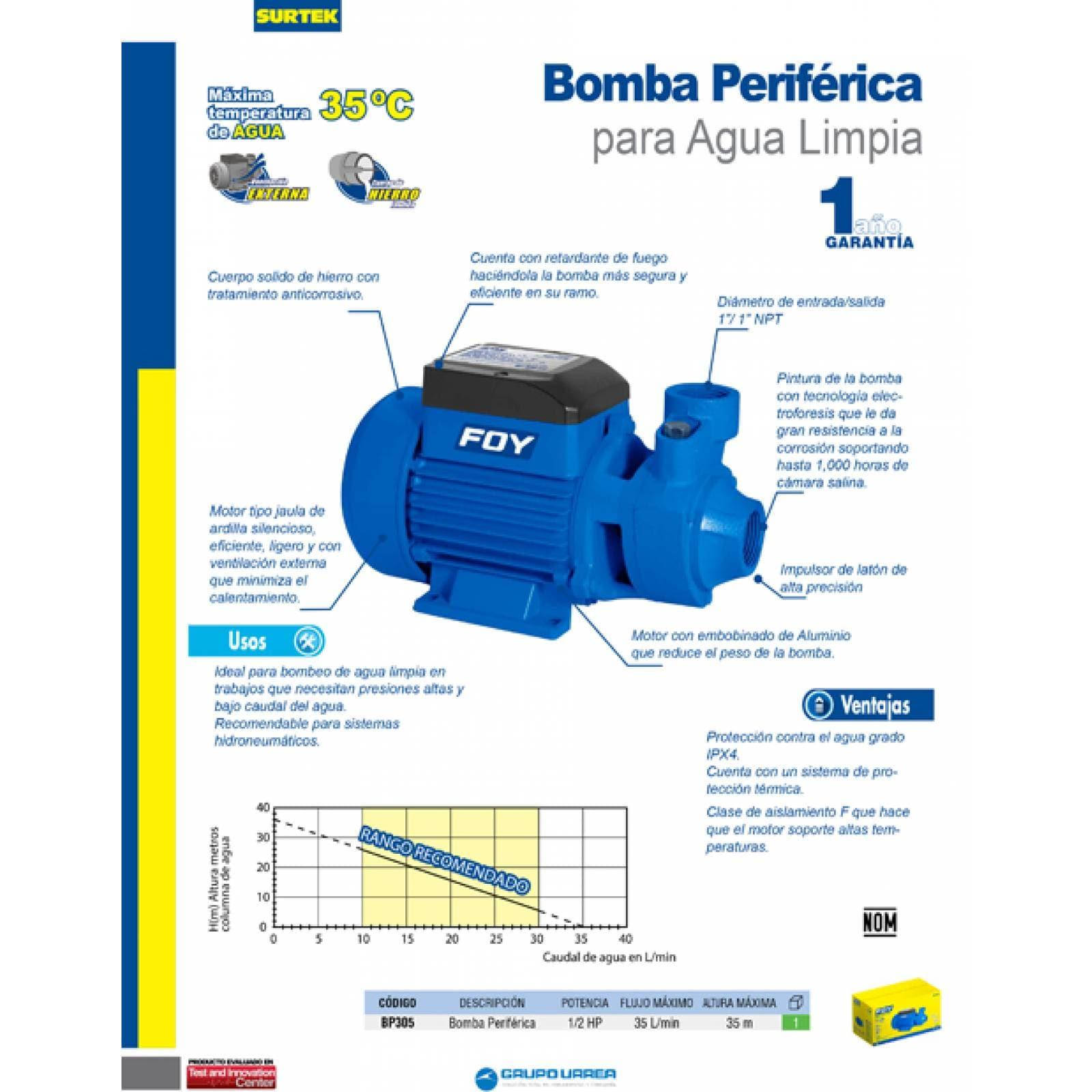 Bomba Periferica De 1/2 Hp Altura Máxima De 35M BP305 Foy