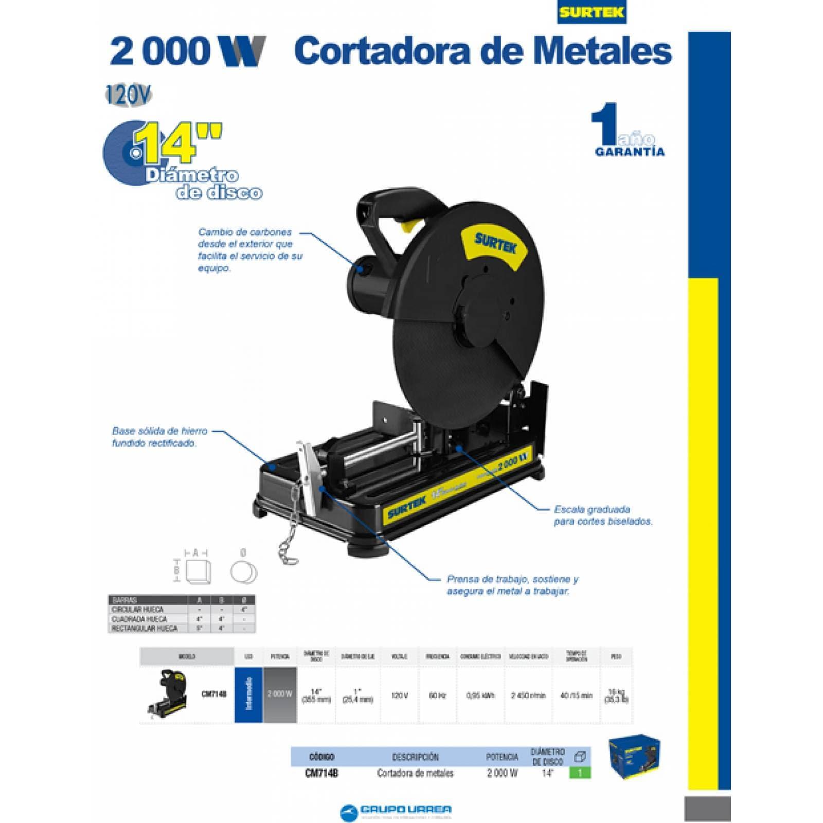 """Cortadora De Metales Capcidad De Disco De 14"""" CM714B Surtek"""