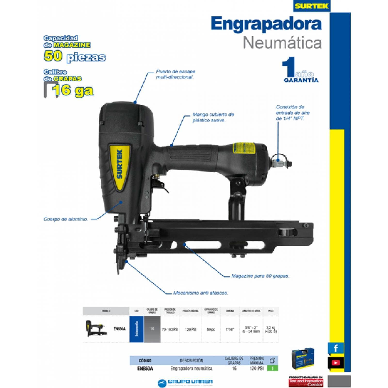 Engrapadora Neumática Presión Máxima 120 Psi En650A Surtek