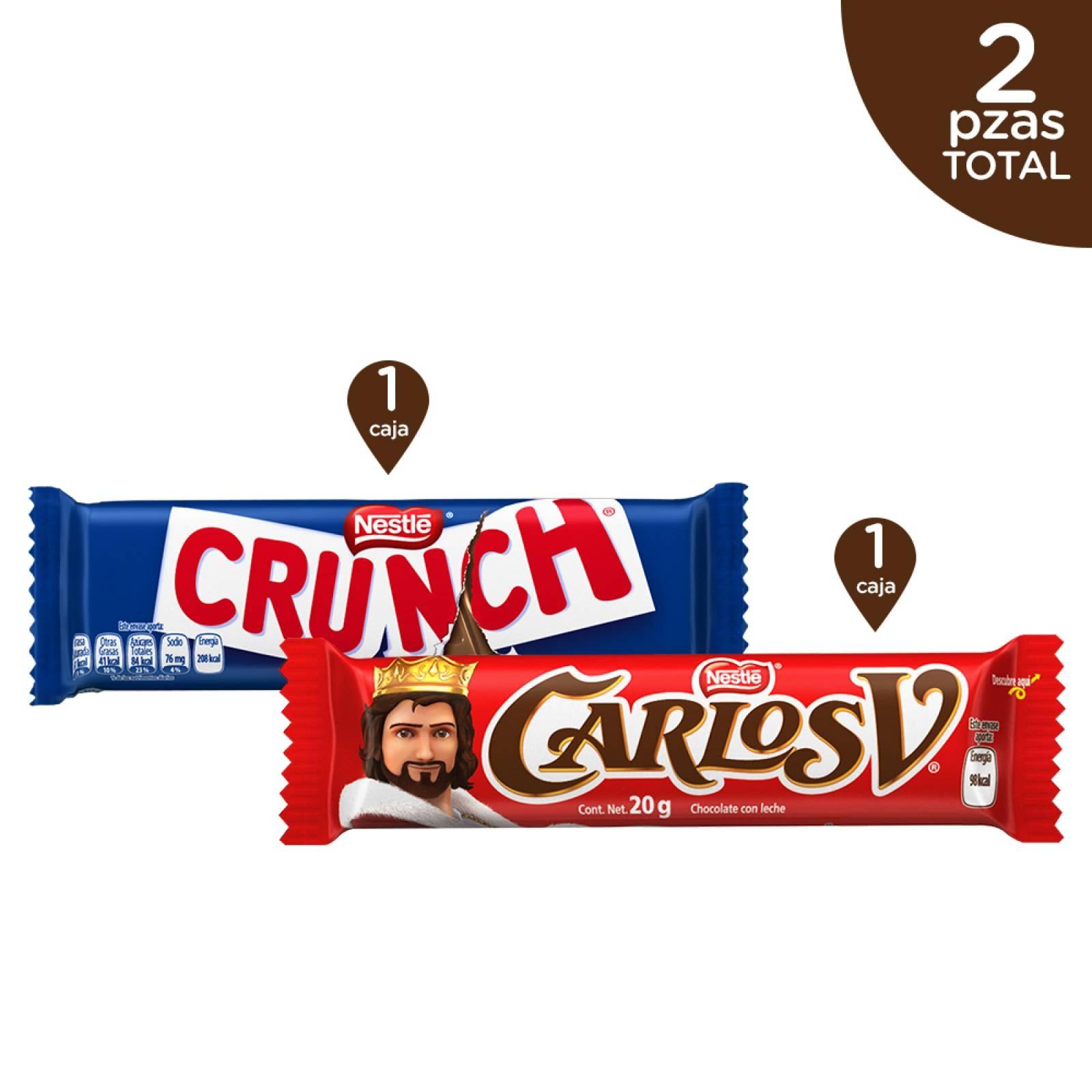 Kit Chocolates Carlos V + Crunch Barras 20 g Nestlé