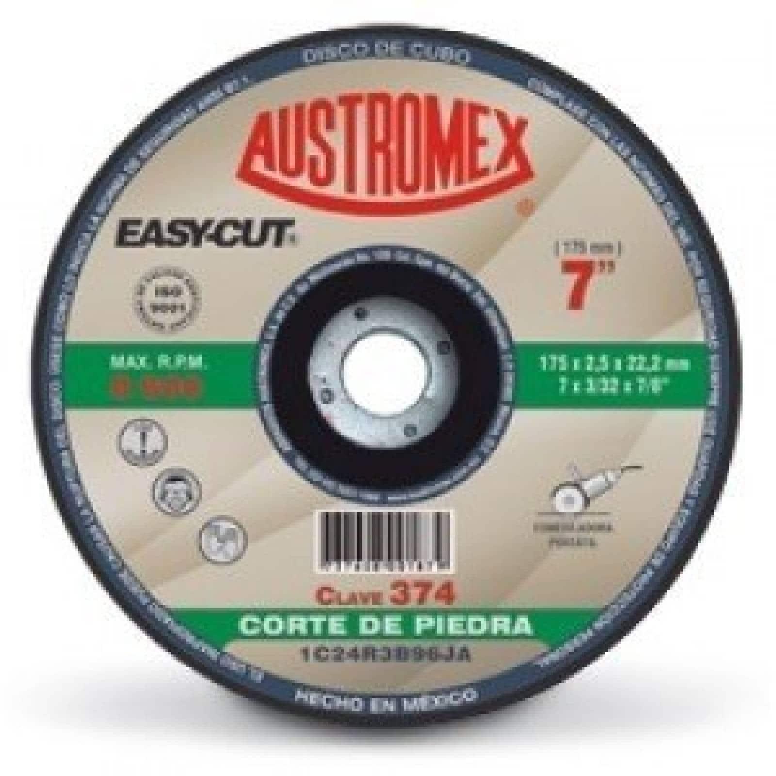 "Disco Centro Deprimido Corte Piedra 7"" Austromex 374"