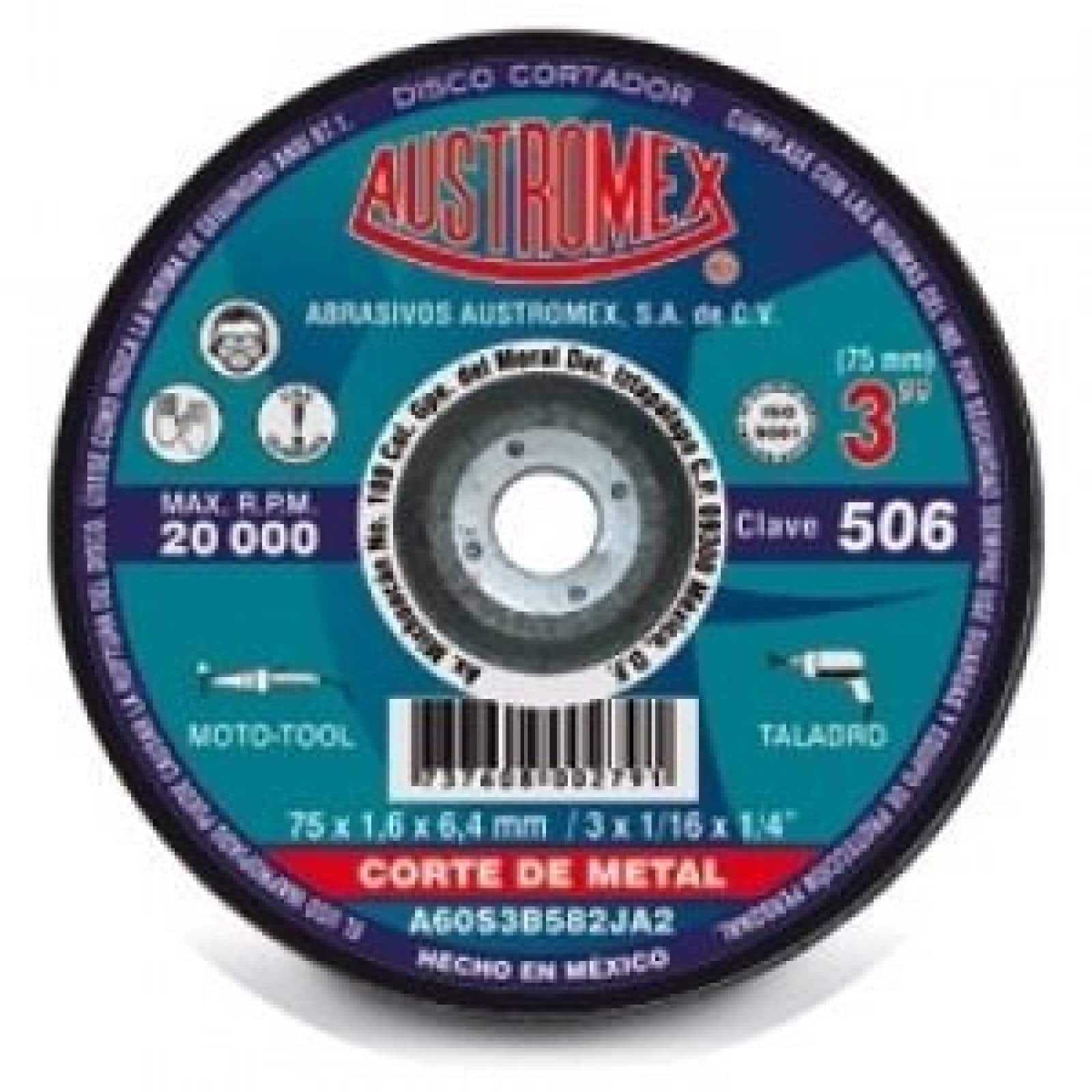 "Disco Abrasivo Corte Metal 3"" Oxido Aluminio Austromex 506"