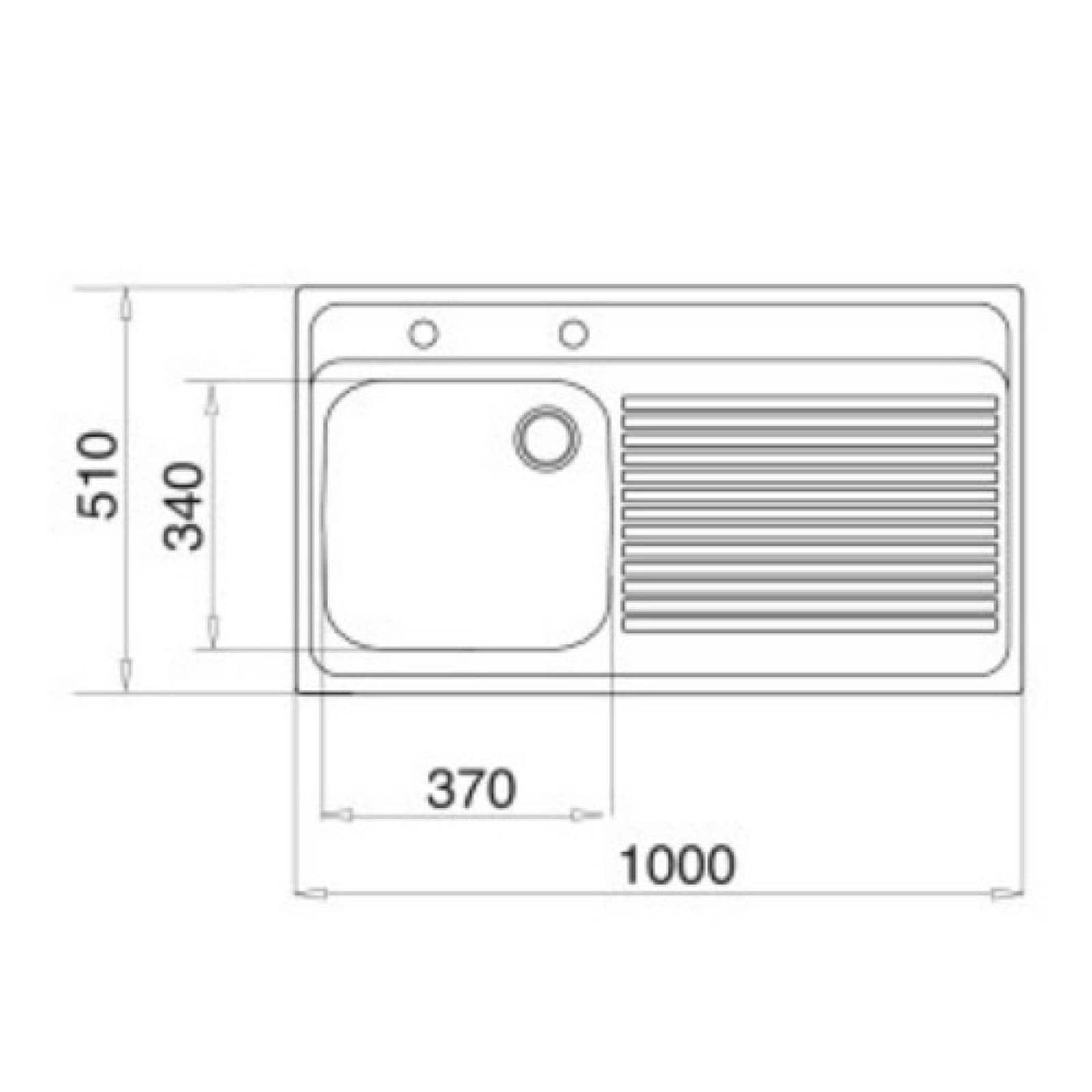 Fregadero Tarja 1 Cubeta 100 X 50 Izquierda Ceja Teka