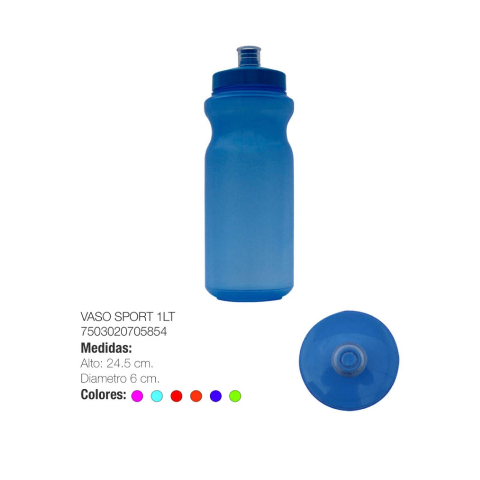 Vaso Cilindro Sport Plástico 1LT Hogar Torosqui Assorted