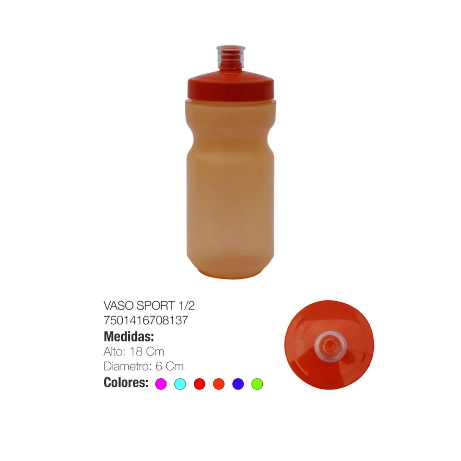 Vaso Cilindro Sport Plástico 1/2 Lt Hogar Torosqui Assorted