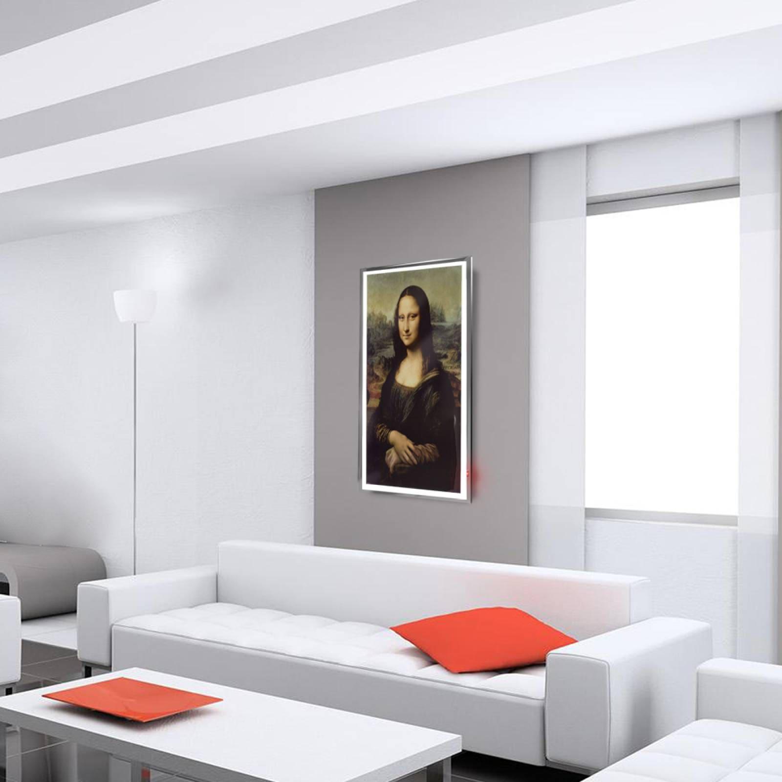 Calefactor de Panel infrarrojo en Cristal para Pared, California Wave Mona Lisa de 380W 60x90cm, Mod: 022CaSol