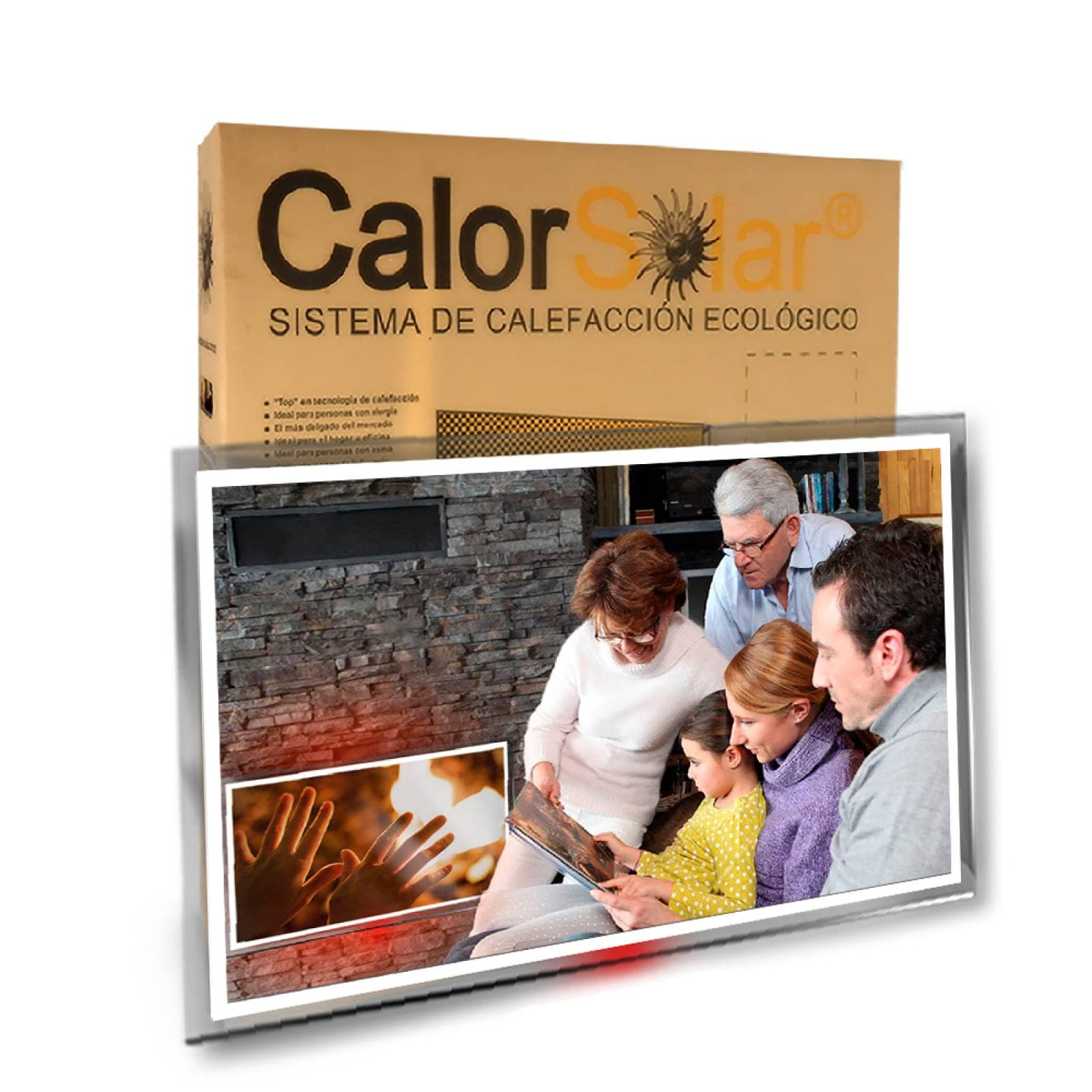 Calefactor de Panel infrarrojo en Cristal para Pared, California Wave Times square Aerial de 380W 60x90cm, Mod: 062CaSol