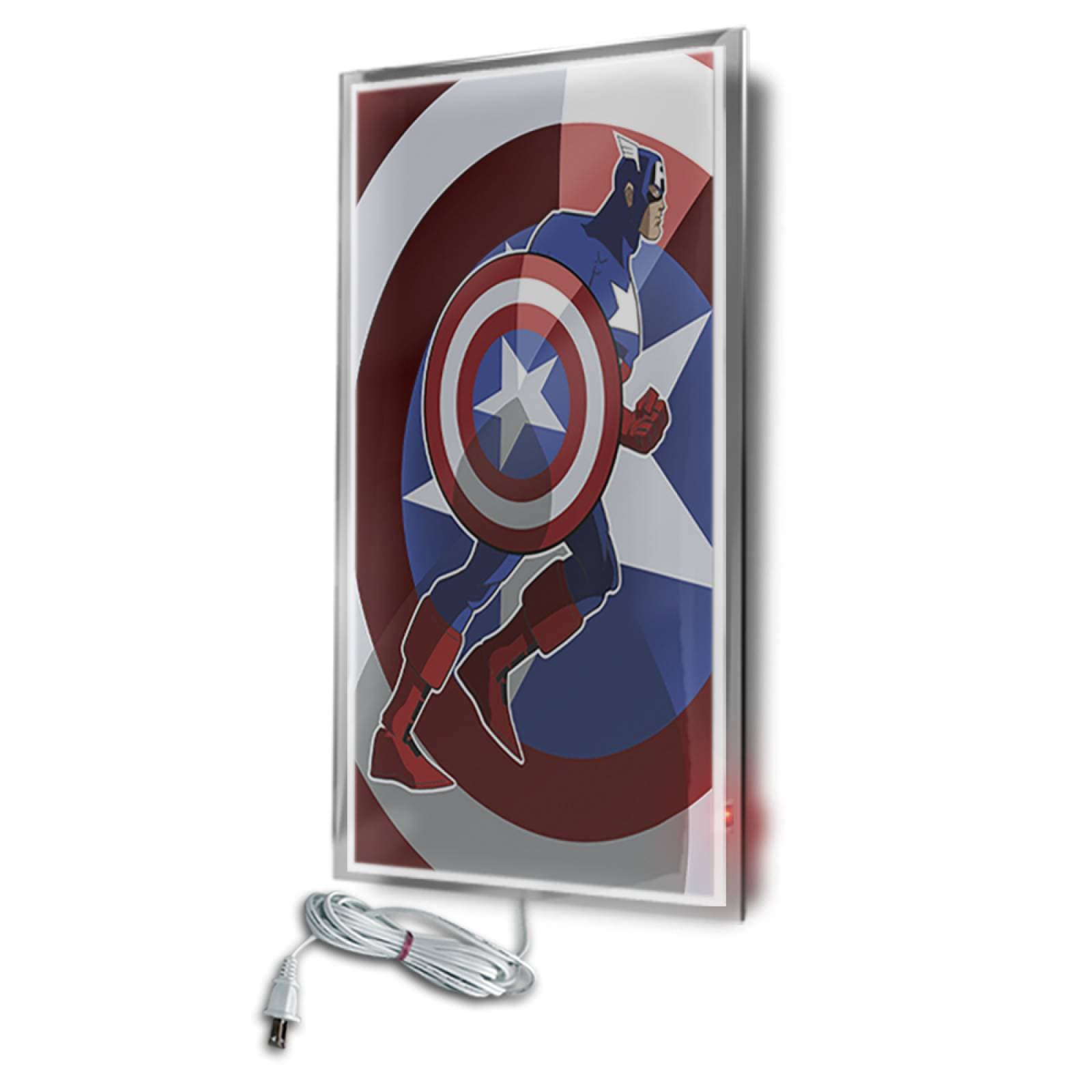 Calefactor de Panel infrarrojo en Cristal para Pared, California Wave Capitán América de 380W 60x90cm, Mod: 135CaSol