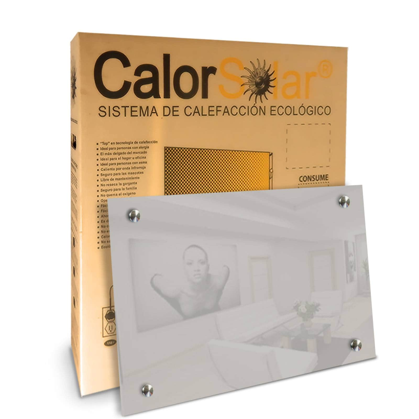 Calefactor de Panel infrarrojo en Cristal para Techo, Arizona Wave White Star de 660W 60x90cm, Mod: 343CaSol-TB4