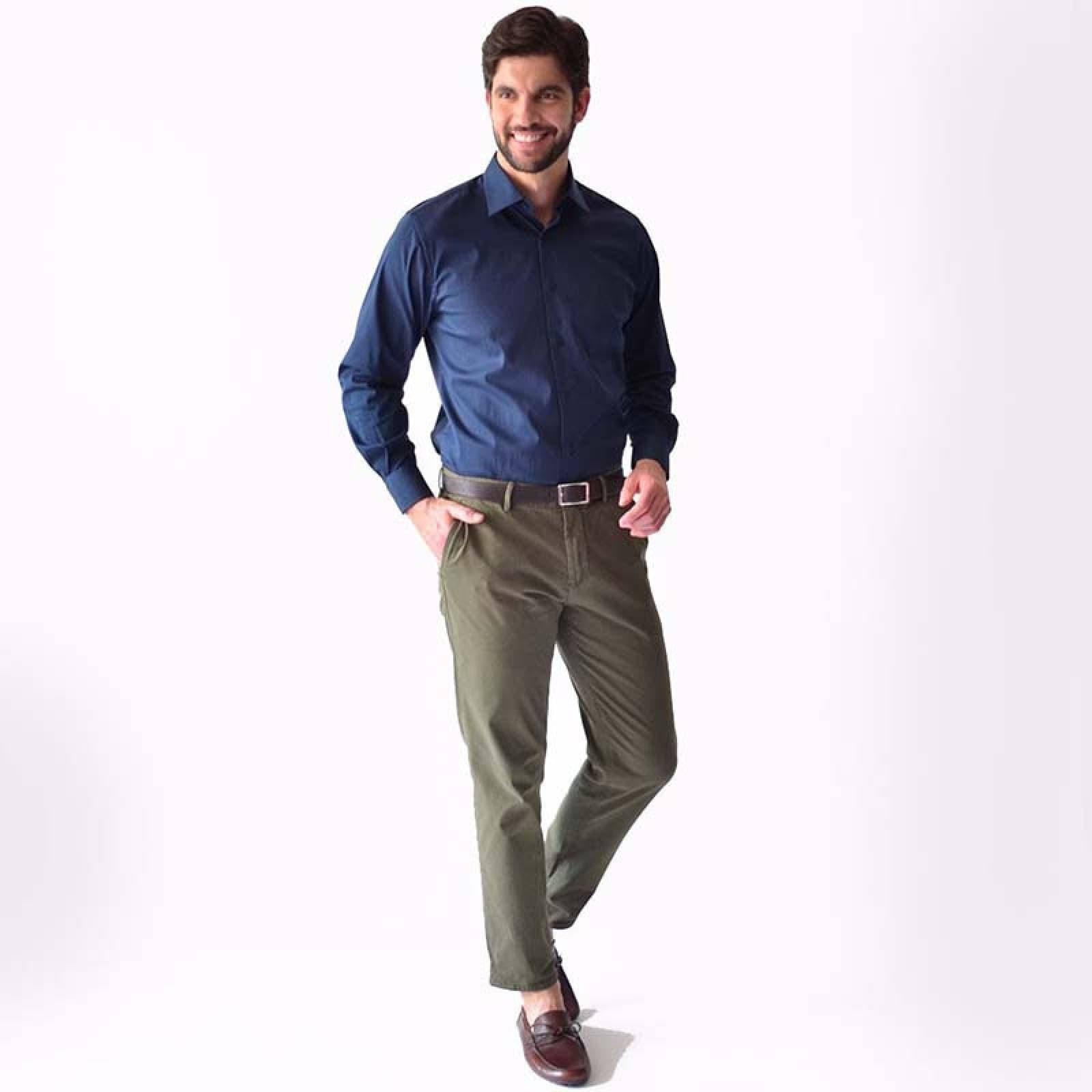Camisa de vestir formal casual Azul Marino Caballero M
