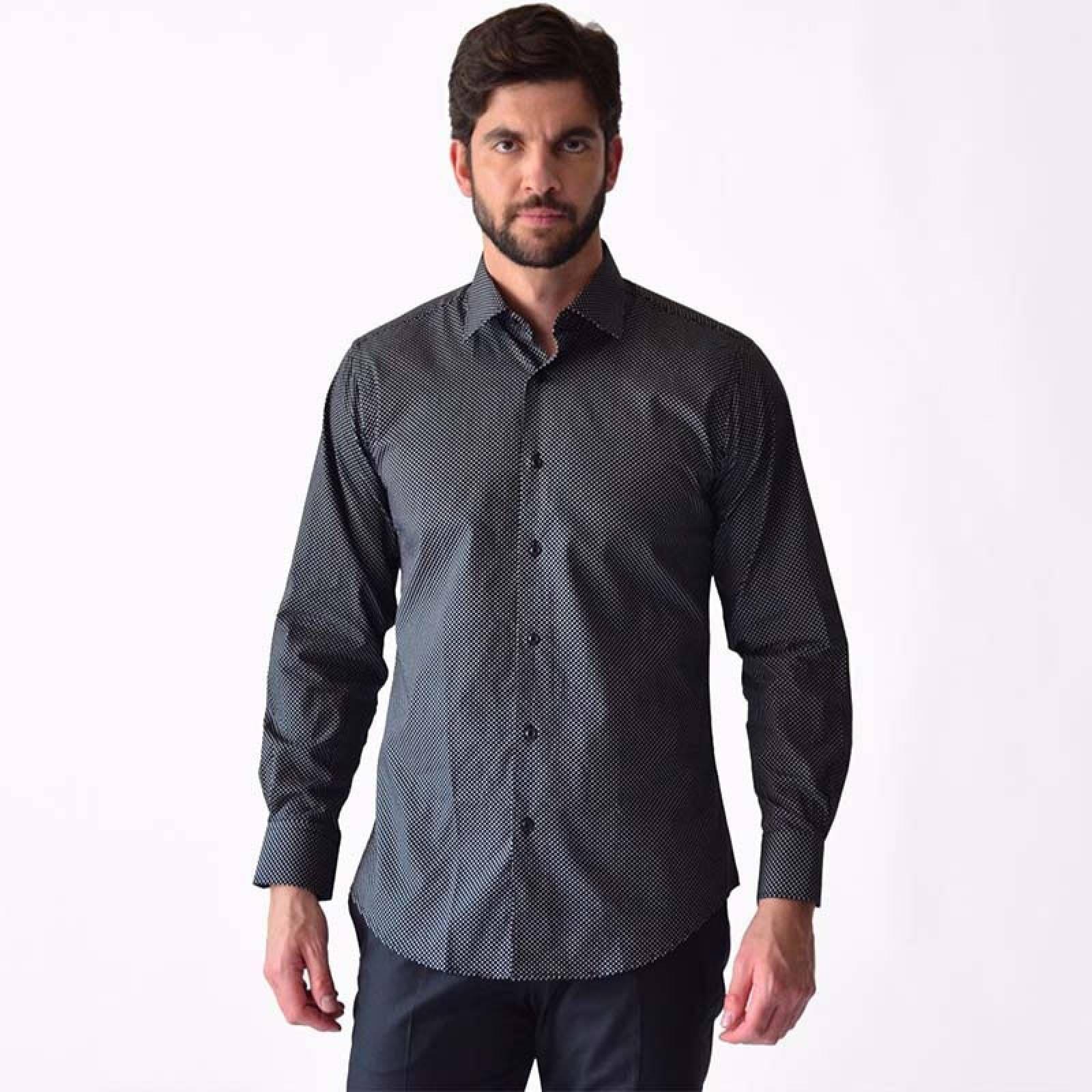Camisa De Vestir Casual Negro Hombre M
