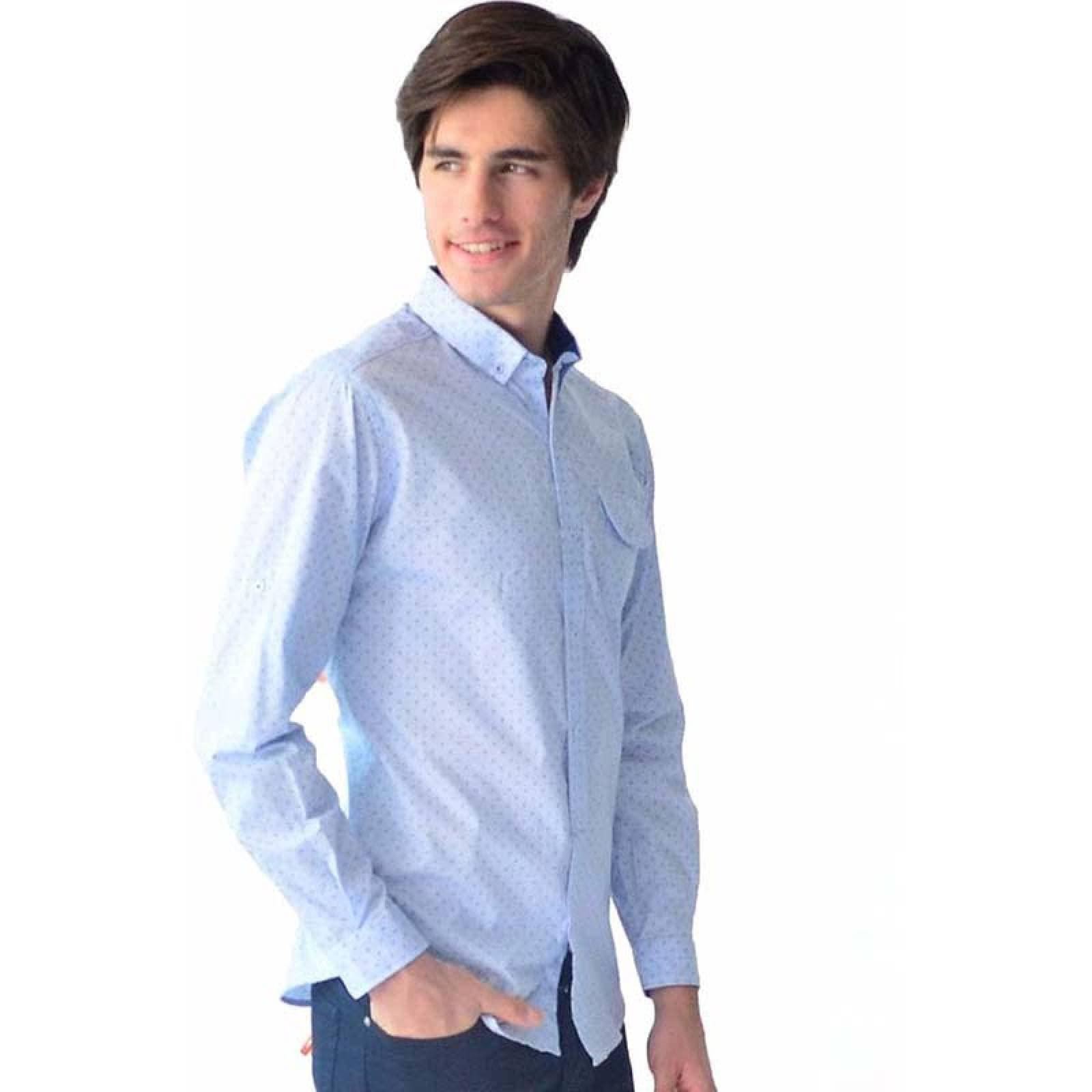 Camisa de vestir casual Azul formal Caballero M