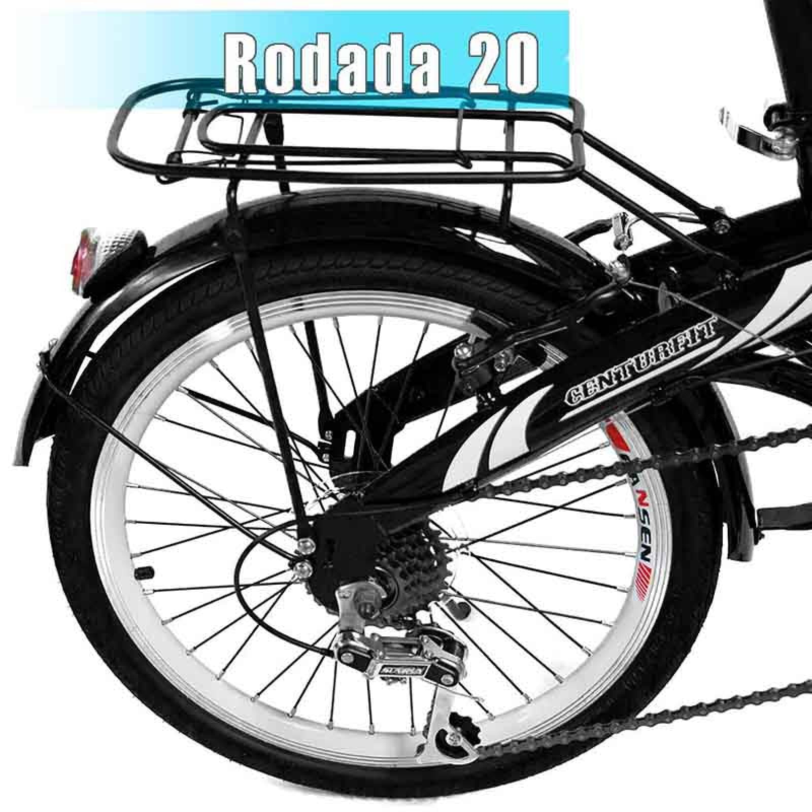 Bicicleta Plegable R20 Acero 7 Velocidades Freno Vbreak Portabultos Campana Negra