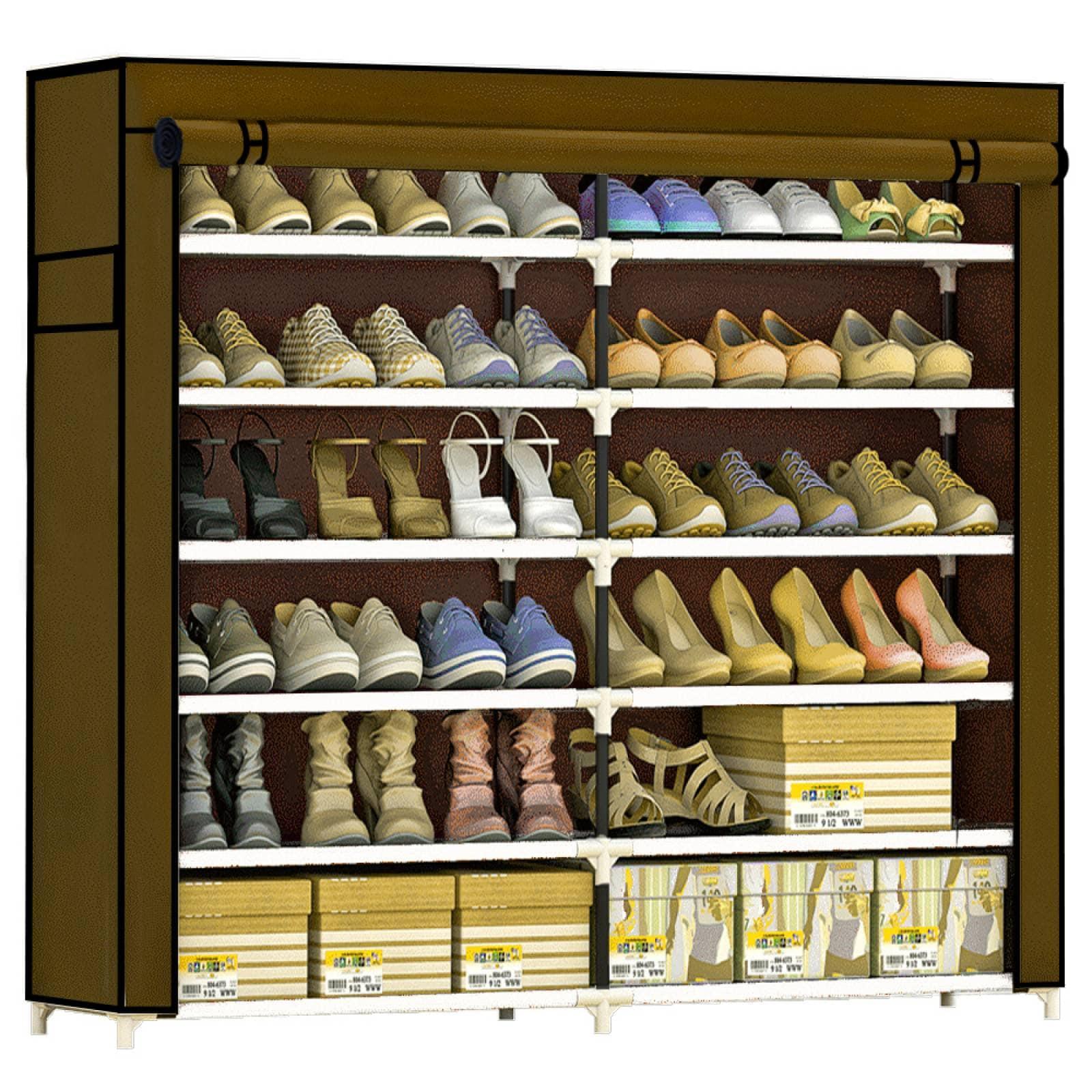 Zapatera Closet Organizador Zapatos 36 Pares Compartimientos Ropa Cafe