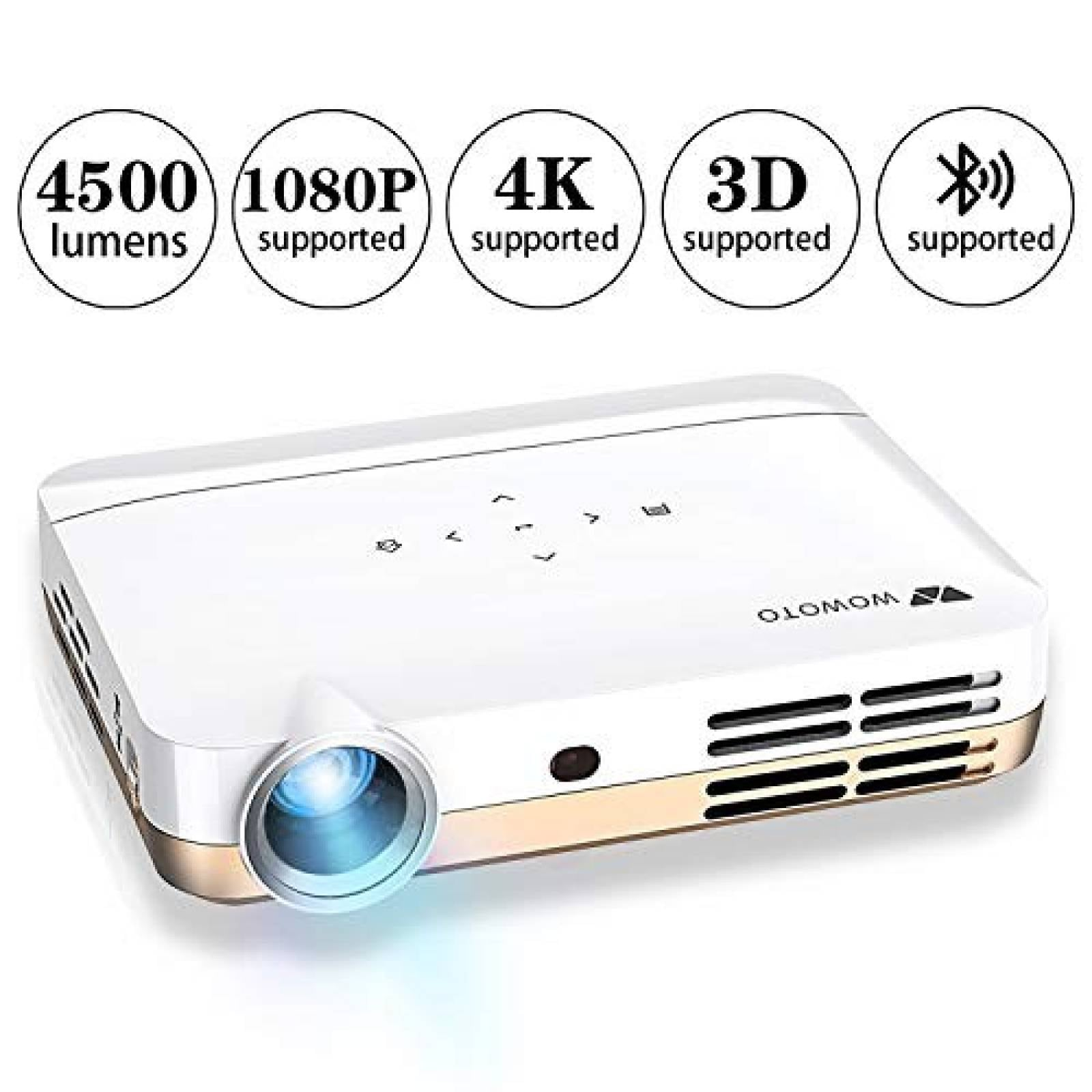 Videoproyector WOWOTO H10 HDMI WiFi Bluetooth -blanco dorado