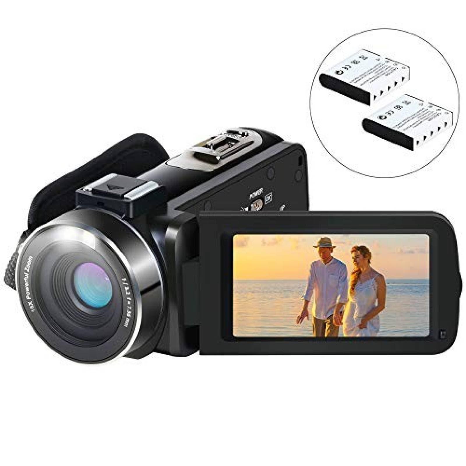 Videocámara Aabeloy HD 1080P 24,0 MP 3,0'' 2 baterías -negra