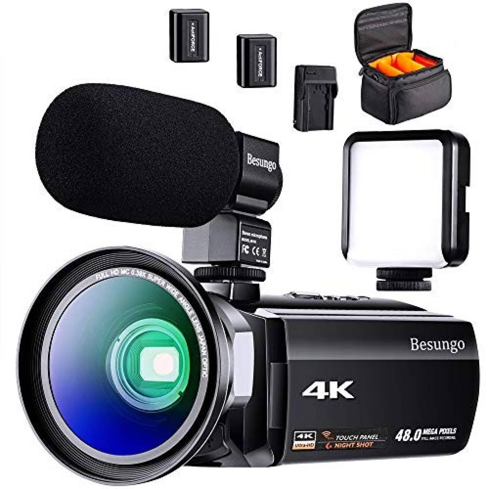Videocámara besungo 4K 60FPS 48MP HD WiFi lente WideAngle