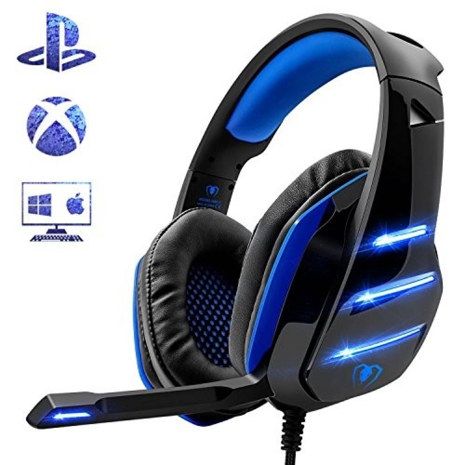Gaming Headset Beexcellent 3.5mm luz LED con micrófono -Azul