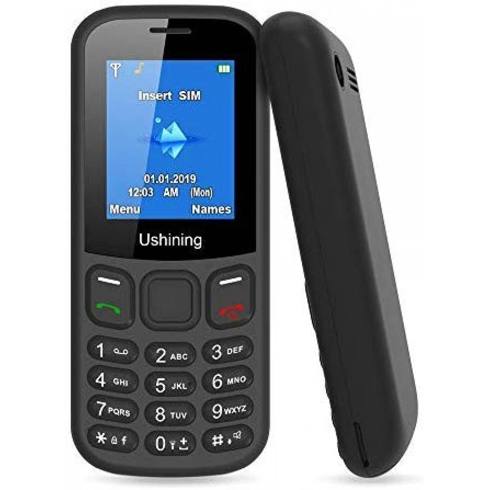 Teléfono Celular USHINING GSM pequeño -Negro
