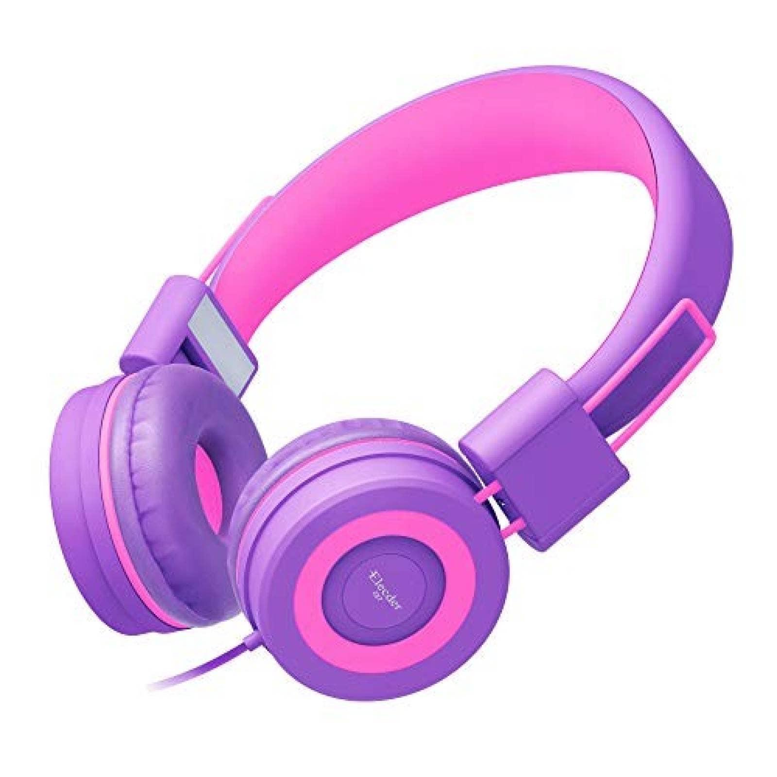 Audífonos Infantiles ELECDER i37 Plegables Ajustables -Rosa